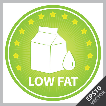 box weight: Vector : Tag, Sticker or Badge For Healthy, Weight Loss, Diet or Fitness Product Present By Green Badge With Low Fat Text, Milk Box Sign and Little Star Around Isolated on White Background