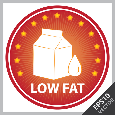 box weight: Vector : Tag, Sticker or Badge For Healthy, Weight Loss, Diet or Fitness Product Present By Red Badge With Low Fat Text, Milk Box Sign and Little Star Around Isolated on White Background Illustration