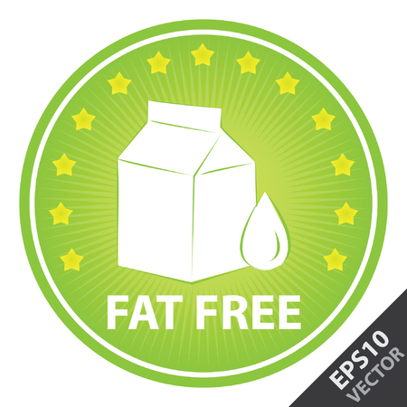 Vector : Tag, Sticker or Badge For Healthy, Weight Loss, Diet or Fitness Product Present By Green Badge With Fat Free Text, Milk Box Sign and Little Star Around Isolated on White Background