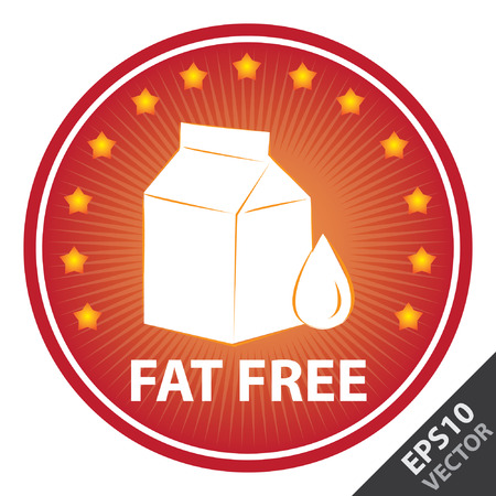 Vector : Tag, Sticker or Badge For Healthy, Weight Loss, Diet or Fitness Product Present By Red Badge With Fat Free Text, Milk Box Sign and Little Star Around Isolated on White Background Illustration