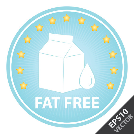 Vector : Tag, Sticker or Badge For Healthy, Weight Loss, Diet or Fitness Product Present By Blue Badge With Fat Free Text, Milk Box Sign and Little Star Around Isolated on White Background