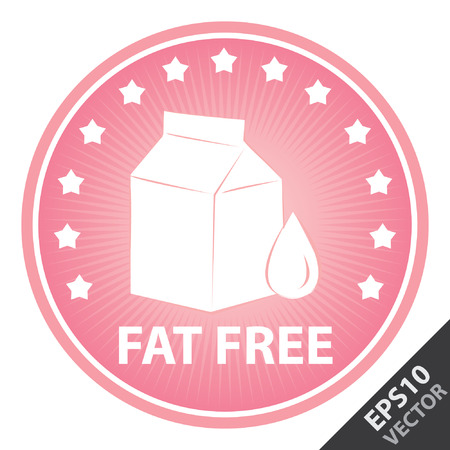 box weight: Vector : Tag, Sticker or Badge For Healthy, Weight Loss, Diet or Fitness Product Present By Pink Badge With Fat Free Text, Milk Box Sign and Little Star Around Isolated on White Background