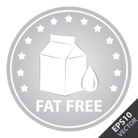 box weight: Vector : Tag, Sticker or Badge For Healthy, Weight Loss, Diet or Fitness Product Present By Gray Badge With Fat Free Text, Milk Box Sign and Little Star Around Isolated on White Background