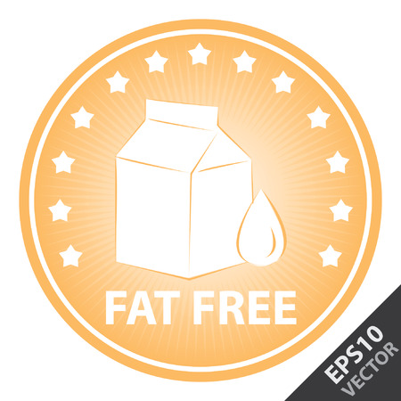 box weight: Vector : Tag, Sticker or Badge For Healthy, Weight Loss, Diet or Fitness Product Present By Orange Badge With Fat Free Text, Milk Box Sign and Little Star Around Isolated on White Background