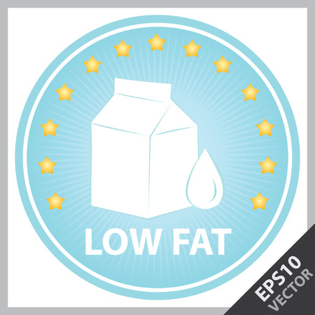 box weight: Vector : Tag, Sticker or Badge For Healthy, Weight Loss, Diet or Fitness Product Present By Blue Badge With Low Fat Text, Milk Box Sign and Little Star Around Isolated on White Background