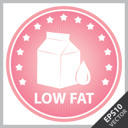 box weight: Vector : Tag, Sticker or Badge For Healthy, Weight Loss, Diet or Fitness Product Present By Pink Badge With Low Fat Text, Milk Box Sign and Little Star Around Isolated on White Background