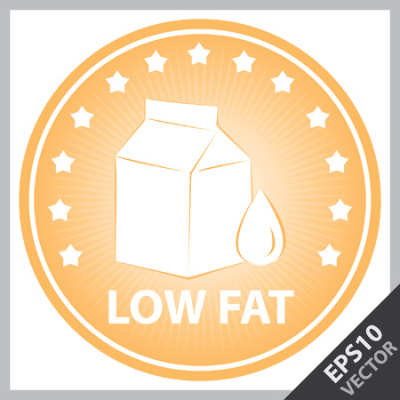 box weight: Vector : Tag, Sticker or Badge For Healthy, Weight Loss, Diet or Fitness Product Present By Orange Badge With Low Fat Text, Milk Box Sign and Little Star Around Isolated on White Background Illustration