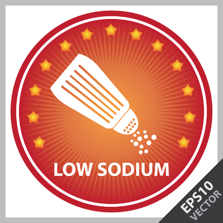 salt free: Vector : Tag, Sticker or Badge For Healthy, Weight Loss, Diet or Fitness Product Present By Red Badge With Low Sodium Text, Salt Sign and Little Star Around Isolated on White Background