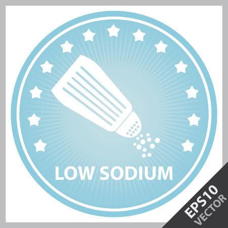 salt free: Vector : Tag, Sticker or Badge For Healthy, Weight Loss, Diet or Fitness Product Present By Blue Badge With Low Sodium Text, Salt Sign and Little Star Around Isolated on White Background