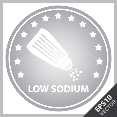saline: Vector : Tag, Sticker or Badge For Healthy, Weight Loss, Diet or Fitness Product Present By Gray Badge With Low Sodium Text, Salt Sign and Little Star Around Isolated on White Background Illustration