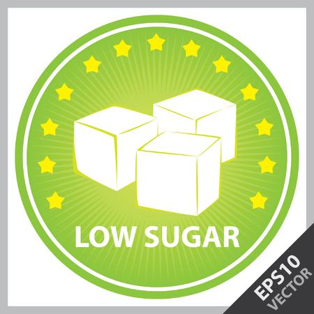 벡터 : 태그, 스티커 또는 건강 한, 체중 감량, 다이어트 또는 휘트니스 제품에 대 한 배지 낮은 설탕 텍스트, 큐브 설탕 서명 및 주위 작은 별 주위에 녹