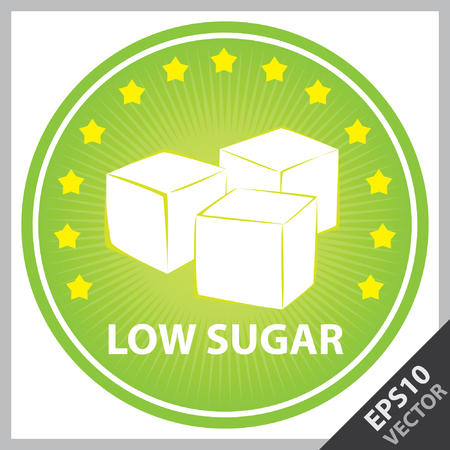 sugar cube: Vector : Tag, Sticker or Badge For Healthy, Weight Loss, Diet or Fitness Product Present By Green Badge With Low Sugar Text, Cube Sugar Sign and Little Star Around Isolated on White Background Illustration