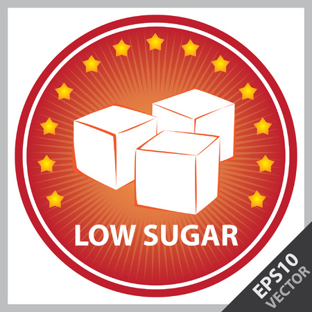 sugar cube: Vector : Tag, Sticker or Badge For Healthy, Weight Loss, Diet or Fitness Product Present By Red Badge With Low Sugar Text, Cube Sugar Sign and Little Star Around Isolated on White Background