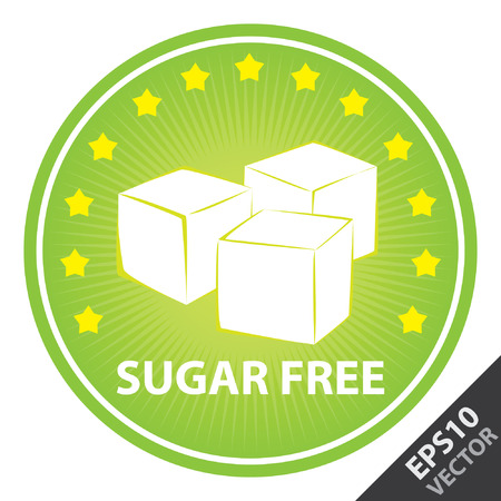 sugar: Vector : Tag, Sticker or Badge For Healthy, Weight Loss, Diet or Fitness Product Present By Green Badge With Sugar Free Text, Cube Sugar Sign and Little Star Around Isolated on White Background