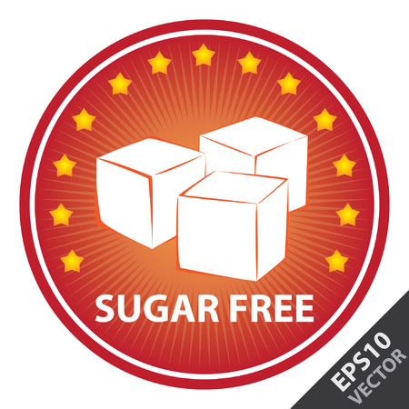 sugar cube: Vector : Tag, Sticker or Badge For Healthy, Weight Loss, Diet or Fitness Product Present By Red Badge With Sugar Free Text, Cube Sugar Sign and Little Star Around Isolated on White Background Illustration