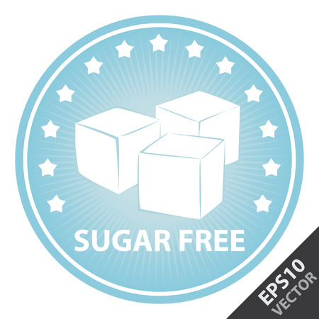 sugar cube: Vector : Tag, Sticker or Badge For Healthy, Weight Loss, Diet or Fitness Product Present By Blue Badge With Sugar Free Text, Cube Sugar Sign and Little Star Around Isolated on White Background
