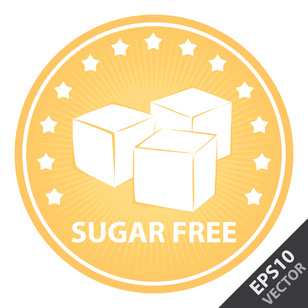 sugar cube: Vector : Tag, Sticker or Badge For Healthy, Weight Loss, Diet or Fitness Product Present By Orange Badge With Sugar Free Text, Cube Sugar Sign and Little Star Around Isolated on White Background