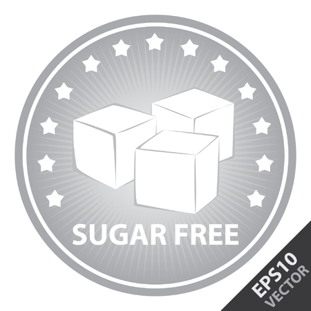 Vector : Tag, Sticker or Badge For Healthy, Weight Loss, Diet or Fitness Product Present By Gray Badge With Sugar Free Text, Cube Sugar Sign and Little Star Around Isolated on White Background