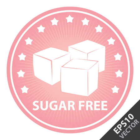 sugar cube: Vector : Tag, Sticker or Badge For Healthy, Weight Loss, Diet or Fitness Product Present By Pink Badge With Sugar Free Text, Cube Sugar Sign and Little Star Around Isolated on White Background