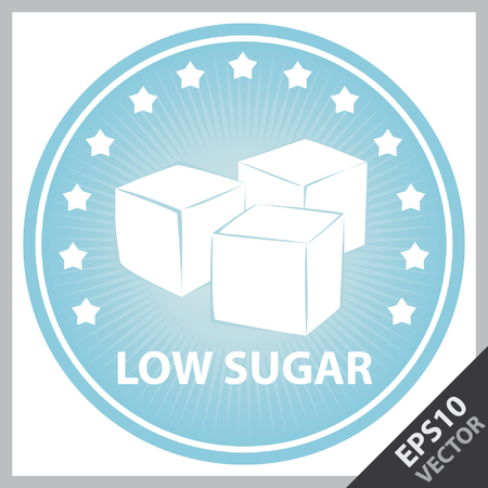 sugar cube: Vector : Tag, Sticker or Badge For Healthy, Weight Loss, Diet or Fitness Product Present By Blue Badge With Low Sugar Text, Cube Sugar Sign and Little Star Around Isolated on White Background