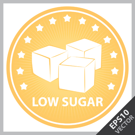 sugar cube: Vector : Tag, Sticker or Badge For Healthy, Weight Loss, Diet or Fitness Product Present By Orange Badge With Low Sugar Text, Cube Sugar Sign and Little Star Around Isolated on White Background
