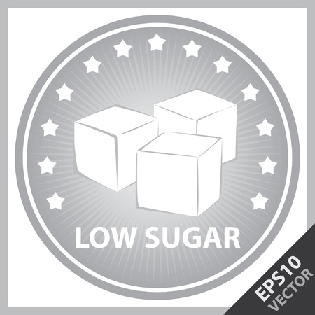 sugar cube: Vector : Tag, Sticker or Badge For Healthy, Weight Loss, Diet or Fitness Product Present By Gray Badge With Low Sugar Text, Cube Sugar Sign and Little Star Around Isolated on White Background Illustration