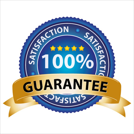 lowest: Promotional Sale Tag, Sticker or Badge, Present By Golden Guarantee Ribbon on Blue Badge With 100 Percent Sign and Lowest Price Text Around Isolated on White Background