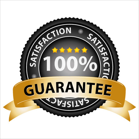 lowest: Promotional Sale Tag, Sticker or Badge, Present By Golden Guarantee Ribbon on Black Badge With 100 Percent Sign and Lowest Price Text Around Isolated on White Background