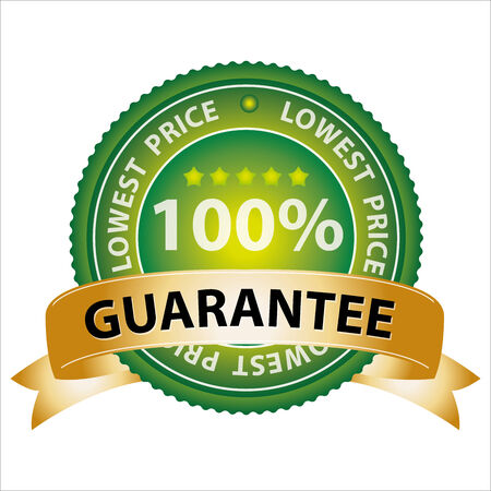 lowest: Promotional Sale Tag, Sticker or Badge, Present By Golden Guarantee Ribbon on Green Badge With 100 Percent Sign and Lowest Price Text Around Isolated on White Background