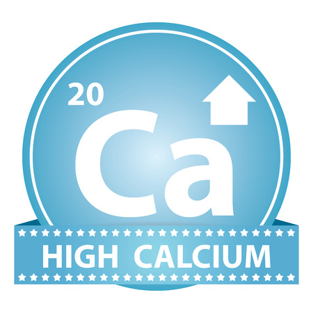 Tag, Sticker or Badge For Healthy, Weight Loss, Diet or Fitness Product Present By High Calcium Sign on Blue Glossy Badge With High Calcium Label Isolated on White Background photo