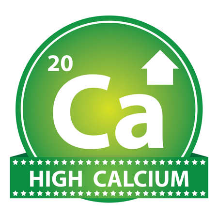 Tag, Sticker or Badge For Healthy, Weight Loss, Diet or Fitness Product Present By High Calcium Sign on Green Glossy Badge With High Calcium Label Isolated on White Background photo