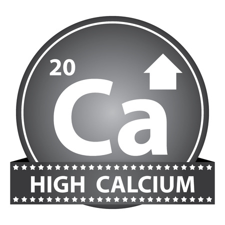 Tag, Sticker or Badge For Healthy, Weight Loss, Diet or Fitness Product Present By High Calcium Sign on Black Glossy Badge With High Calcium Label Isolated on White Background photo