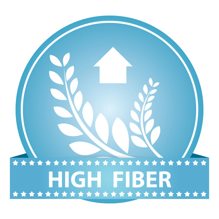 Tag, Sticker or Badge For Healthy, Weight Loss, Diet or Fitness Product Present By High Fiber Sign on Blue Glossy Badge With High Fiber Label Isolated on White Background