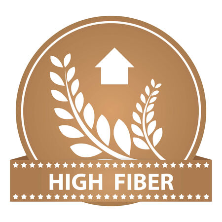 Tag, Sticker or Badge For Healthy, Weight Loss, Diet or Fitness Product Present By High Fiber Sign on Brown Glossy Badge With High Fiber Label Isolated on White Background