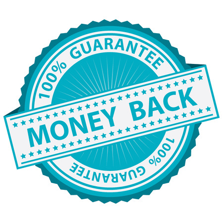 Promotional Sale Tag, Sticker or Badge, Present By Blue Money Back Label With 100 Percent Guarantee Text Around Isolated on White Background Reklamní fotografie
