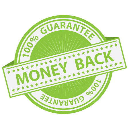 compensate: Promotional Sale Tag, Sticker or Badge, Present By Green Money Back Label With 100 Percent Guarantee Text Around Isolated on White Background Stock Photo