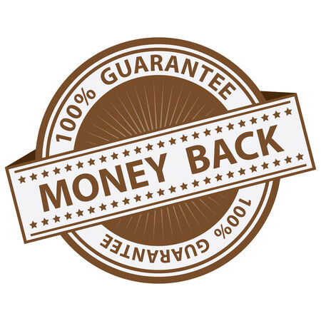 compensate: Promotional Sale Tag, Sticker or Badge, Present By Brown Money Back Label With 100 Percent Guarantee Text Around Isolated on White Background