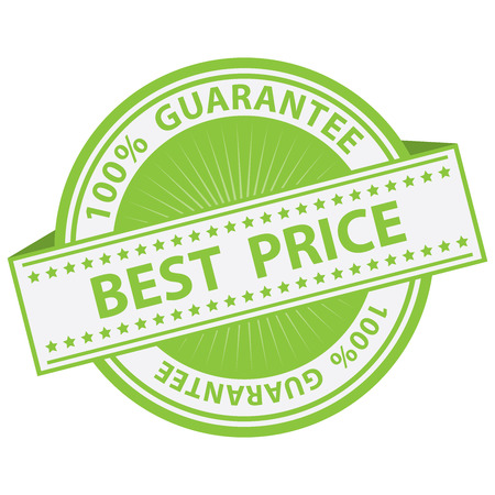 Promotional Sale Tag, Sticker or Badge, Present By Green Best Price Label With 100 Percent Guarantee Text Around Isolated on White Background Banco de Imagens
