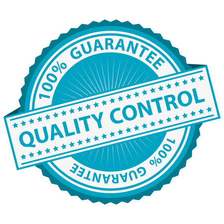 assured: Quality Management Systems, Quality Assurance and Quality Control Concept Present By Blue Quality Control Label With 100 Percent Guarantee Text Around Isolated on White Background Stock Photo
