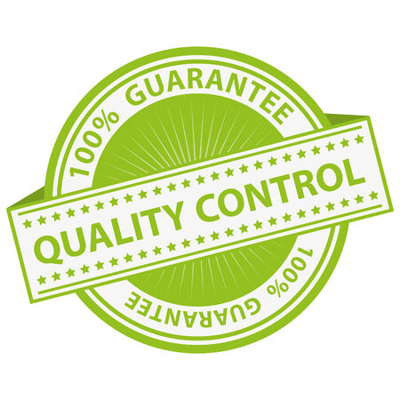 authorize: Quality Management Systems, Quality Assurance and Quality Control Concept Present By Green Quality Control Label With 100 Percent Guarantee Text Around Isolated on White Background