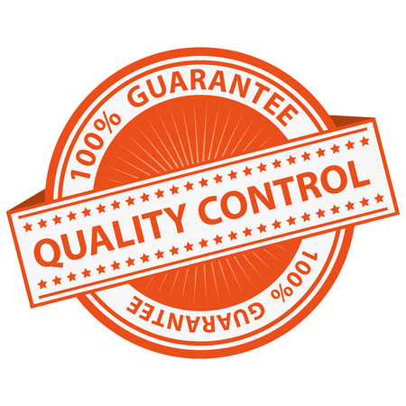 assured: Quality Management Systems, Quality Assurance and Quality Control Concept Present By Orange Quality Control Label With 100 Percent Guarantee Text Around Isolated on White Background