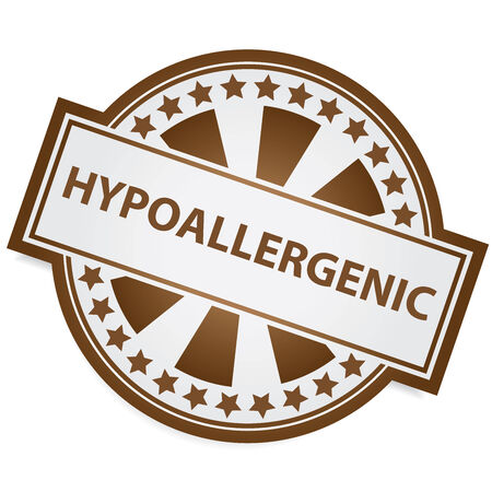 hypoallergenic: Icon for Marketing Campaign, Product Information or Product Ingredient Concept Present By Brown Badge With Hypoallergenic Label and Little Star Around Isolated on White Background Stock Photo