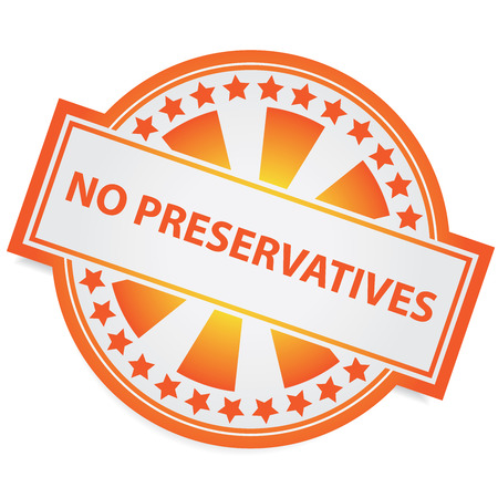 conservative: Icon for Marketing Campaign, Product Information or Product Ingredient Concept Present By Orange Badge With No Preservatives Label and Little Star Around Isolated on White Background
