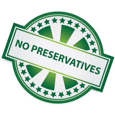 preservatives: Icon for Marketing Campaign, Product Information or Product Ingredient Concept Present By Green Badge With No Preservatives Label and Little Star Around Isolated on White Background Stock Photo