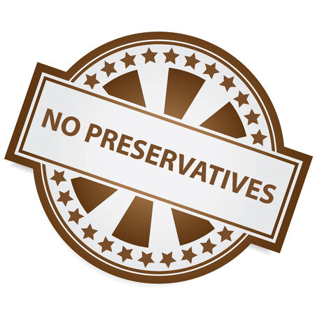 preservatives: Icon for Marketing Campaign, Product Information or Product Ingredient Concept Present By Brown Badge With No Preservatives Label and Little Star Around Isolated on White Background Stock Photo
