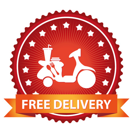 home delivery: Marketing Campaign, Promotion or Business Concept Present By Red Glossy Badge With Free Delivery Ribbon and Food Delivery Sign With Little Star Around Isolated on White Background