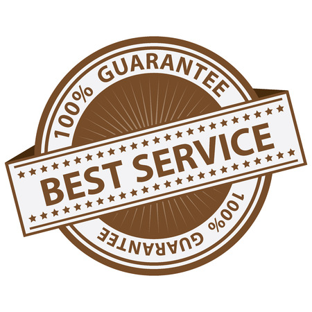 premier: Quality Management Systems, Quality Assurance and Quality Control Concept Present By Brown Best Service Label With 100 Percent Guarantee Text Around Isolated on White Background Stock Photo