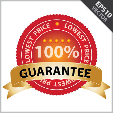 lowest: Vector : Promotional Sale Tag, Sticker or Badge, Present By Golden Guarantee Ribbon on Red Badge With 100 Percent Sign and Lowest Price Text Around Isolated on White Background