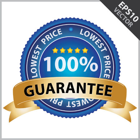 lowest: Vector : Promotional Sale Tag, Sticker or Badge, Present By Golden Guarantee Ribbon on Blue Badge With 100 Percent Sign and Lowest Price Text Around Isolated on White Background