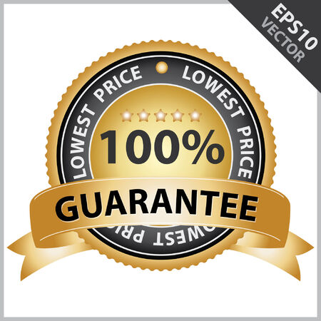 lowest: Vector : Promotional Sale Tag, Sticker or Badge, Present By Golden Guarantee Ribbon on Gold Badge With 100 Percent Sign and Lowest Price Text Around Isolated on White Background